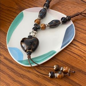 Boho Heart Ceramic Brown Pendant Necklace